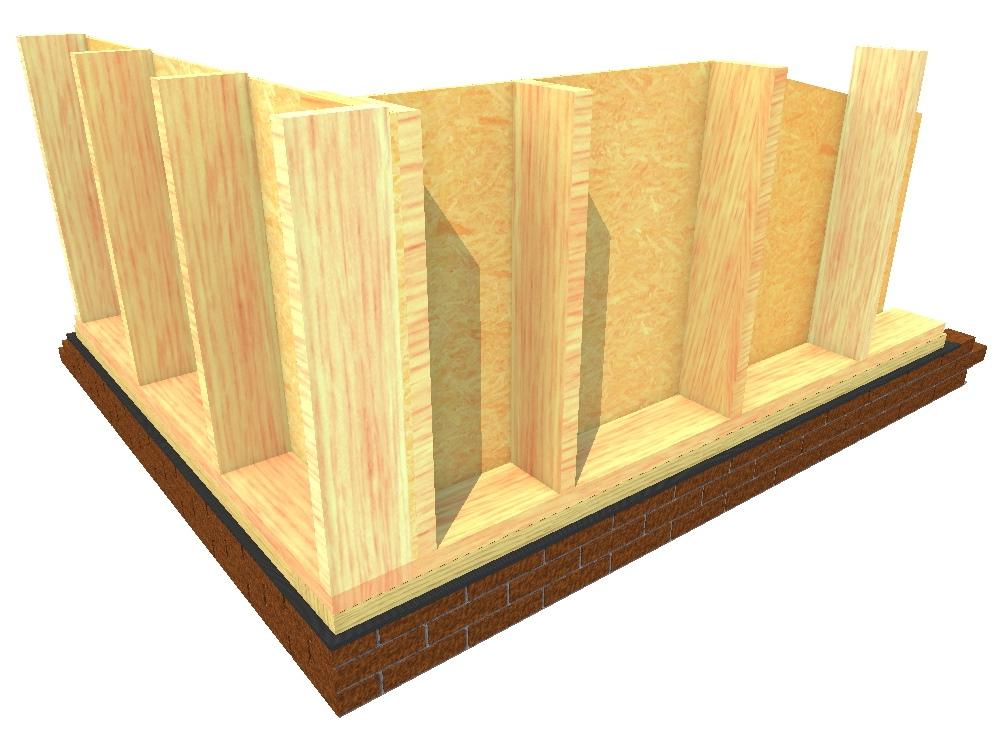 Kale houtskeletbouw muur