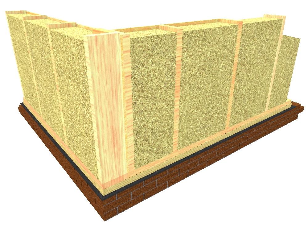 Geïsoleerde houtskeletbouw muur